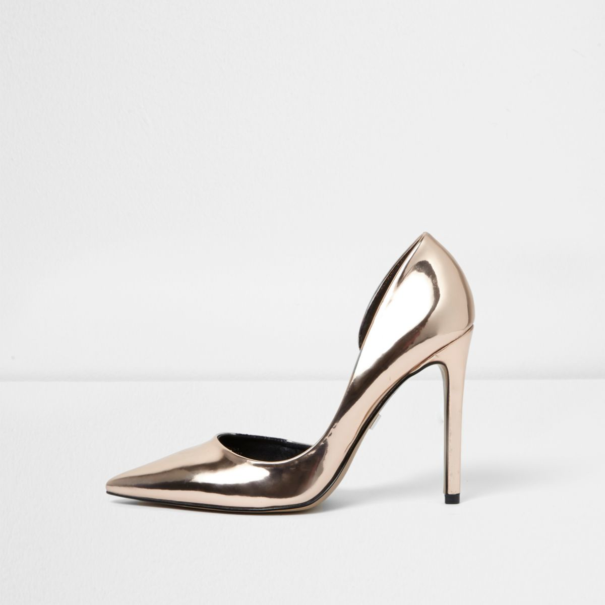 Gold wide fit metallic court shoes