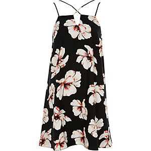 Black floral cross strap slip dress