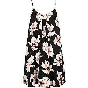 Black floral print tie front slip dress