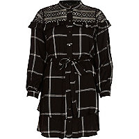 Black check lace yoke belted shirt dress