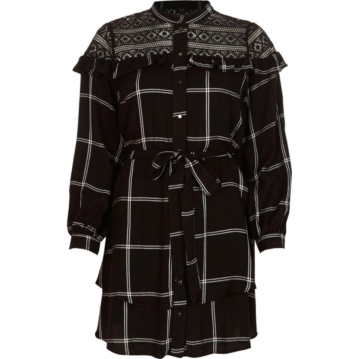 Black check lace yoke belted shirt dress