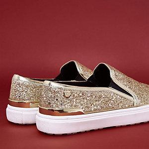 Gouden slip-on gympen met glitters