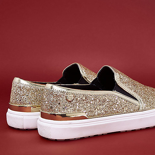 Gold glitter slip on plimsolls