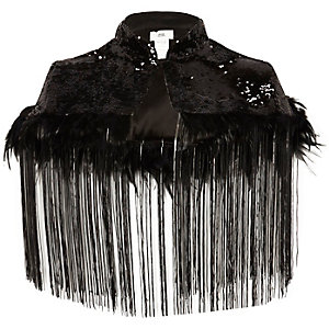 Black sequin fringed capelet