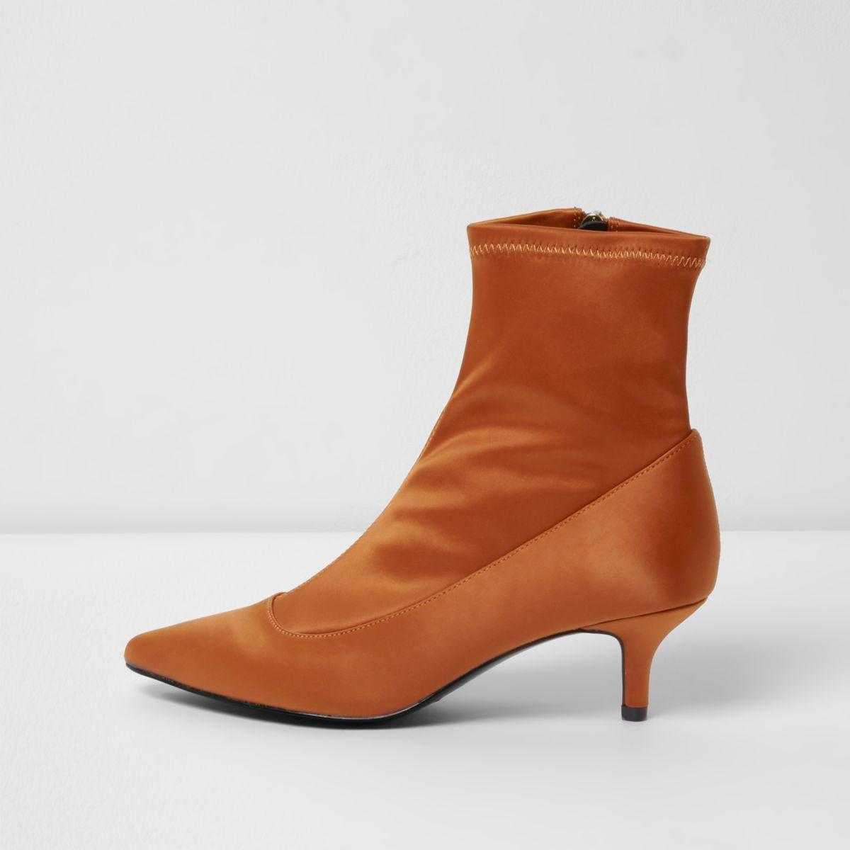 Dark orange kitten heel sock boots
