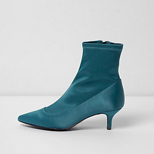 Dark green kitten heel sock boots