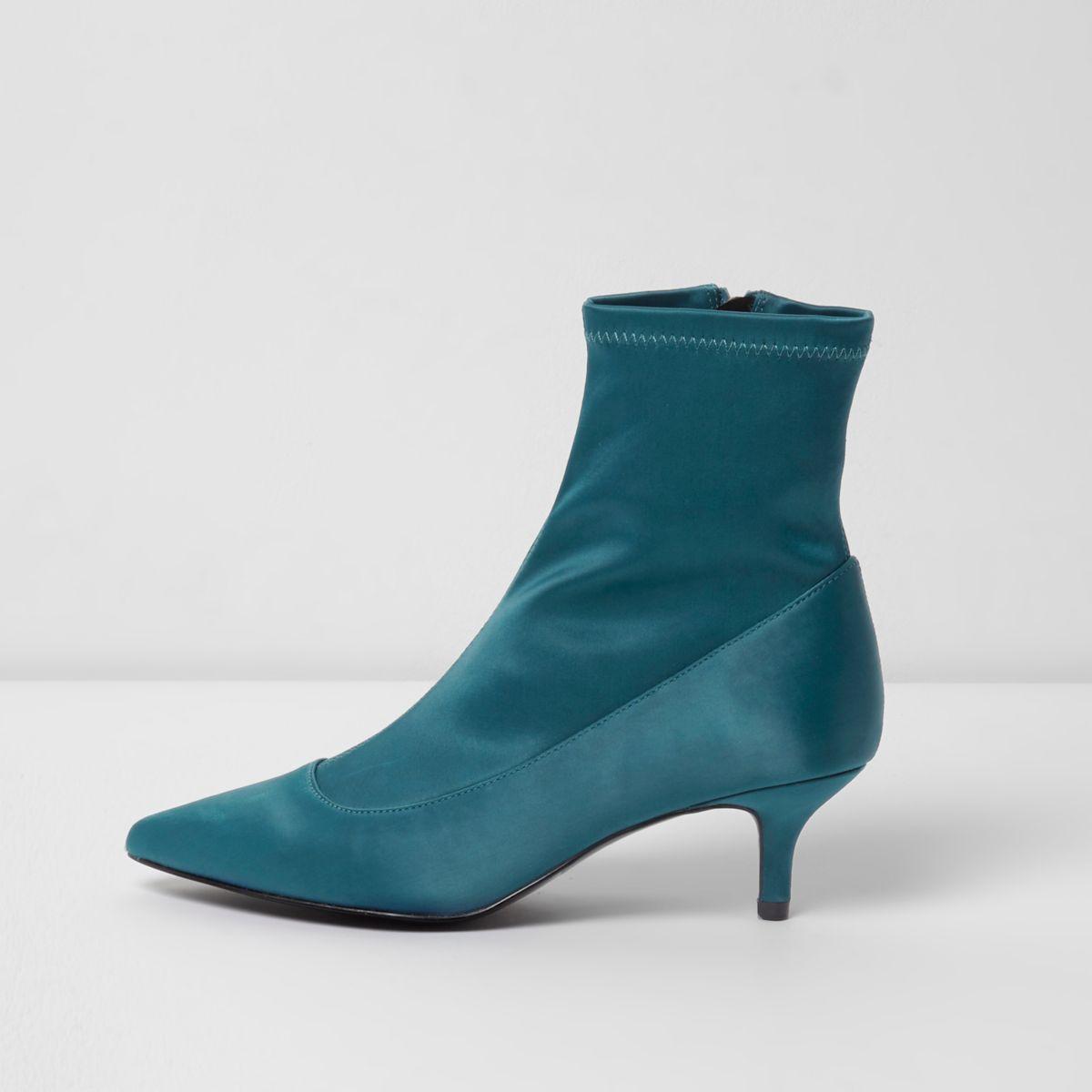 Dark green kitten heel sock boots