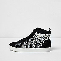 Black faux pearl hi top sneakers