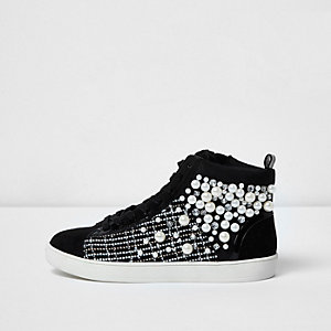 Black faux pearl hi top trainers