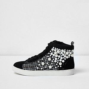 Zwarte hoge sneakers met imitatieparels