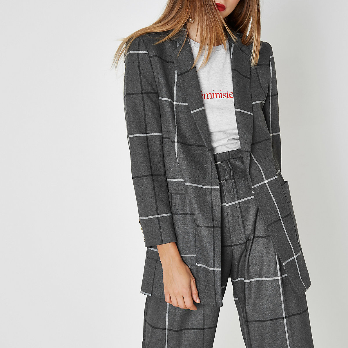 Grey wide check oversized blazer