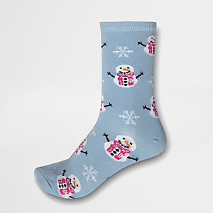 Blue snowman ankle socks