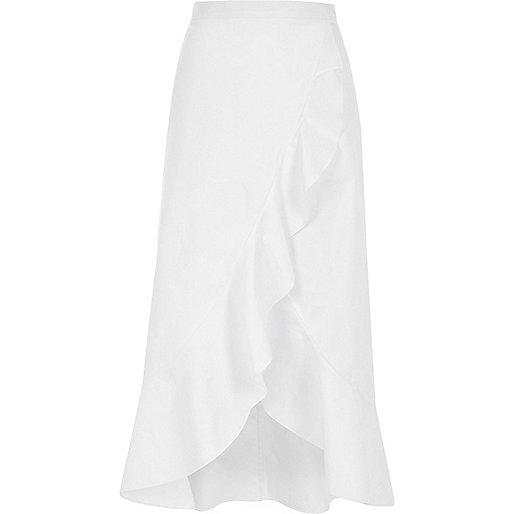 White frill wrap front midi skirt