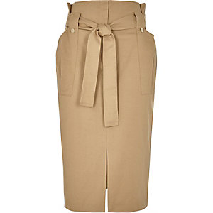 Light brown paper bag wast midi skirt