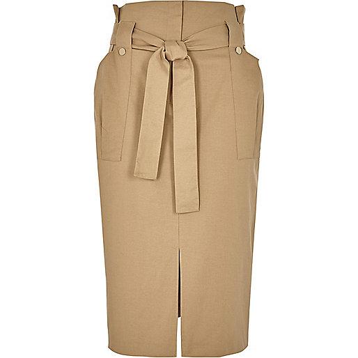 Light brown paper bag wast midi skirt