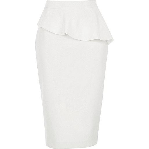 White peplum frill pencil skirt
