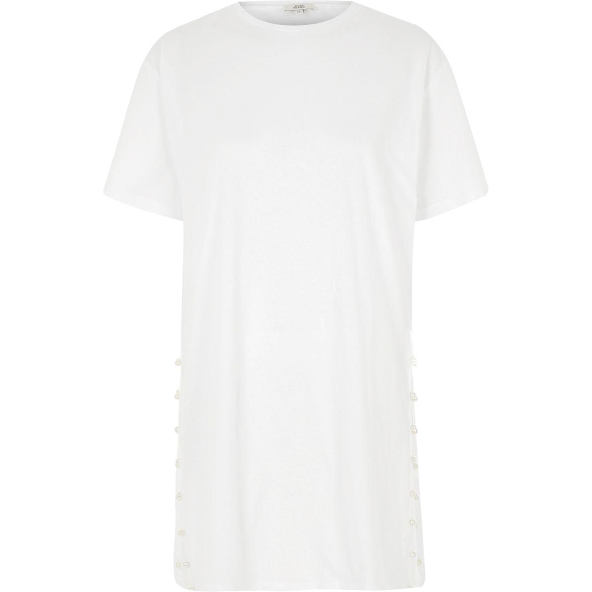 White split pearl side oversized T-shirt