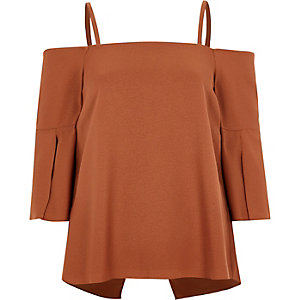 Copper split sleeve bardot top