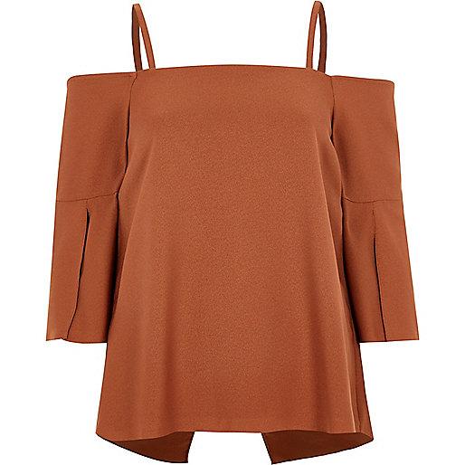 Copper split sleeve bardot top