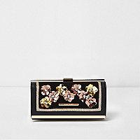 Zwarte portemonnee met 3D metallic bloem