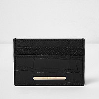 Black croc embossed glitter card holder