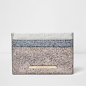 Light pink block glitter card holder
