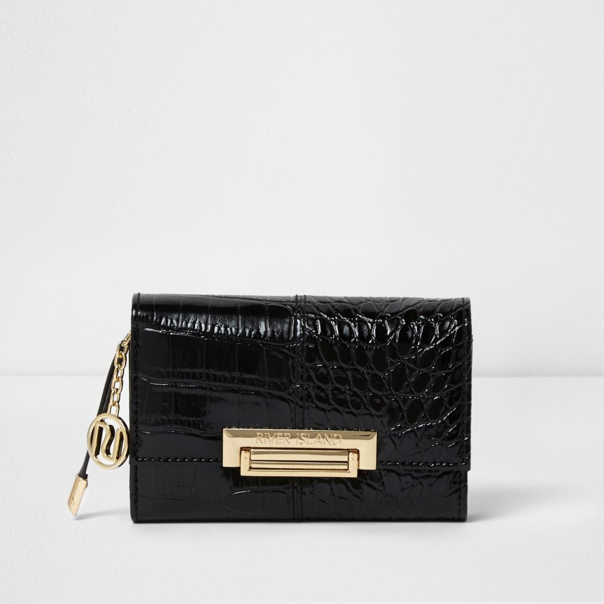 Black mini croc embossed lock front purse