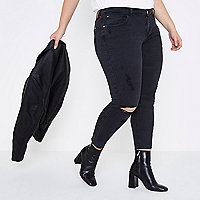 Plus black Alannah rip relaxed skinny jeans