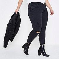 RI Plus - Alannah - Zwarte ripped relaxte skinny jeans