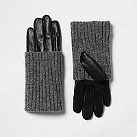 Black leather ribbed knit cuff gloves