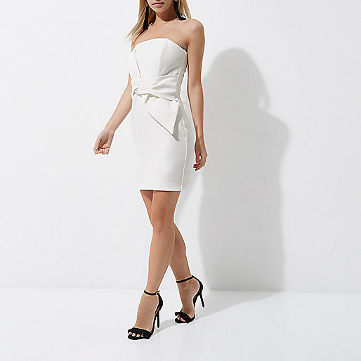 Petite cream bow bandeau bodycon mini dress