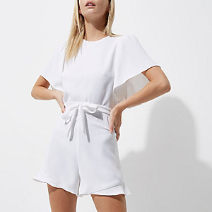 Petite white tea dress style romper