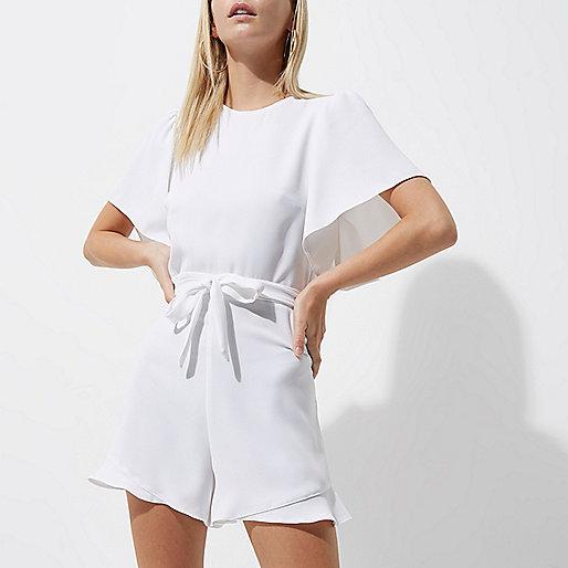 Petite white tea dress style playsuit
