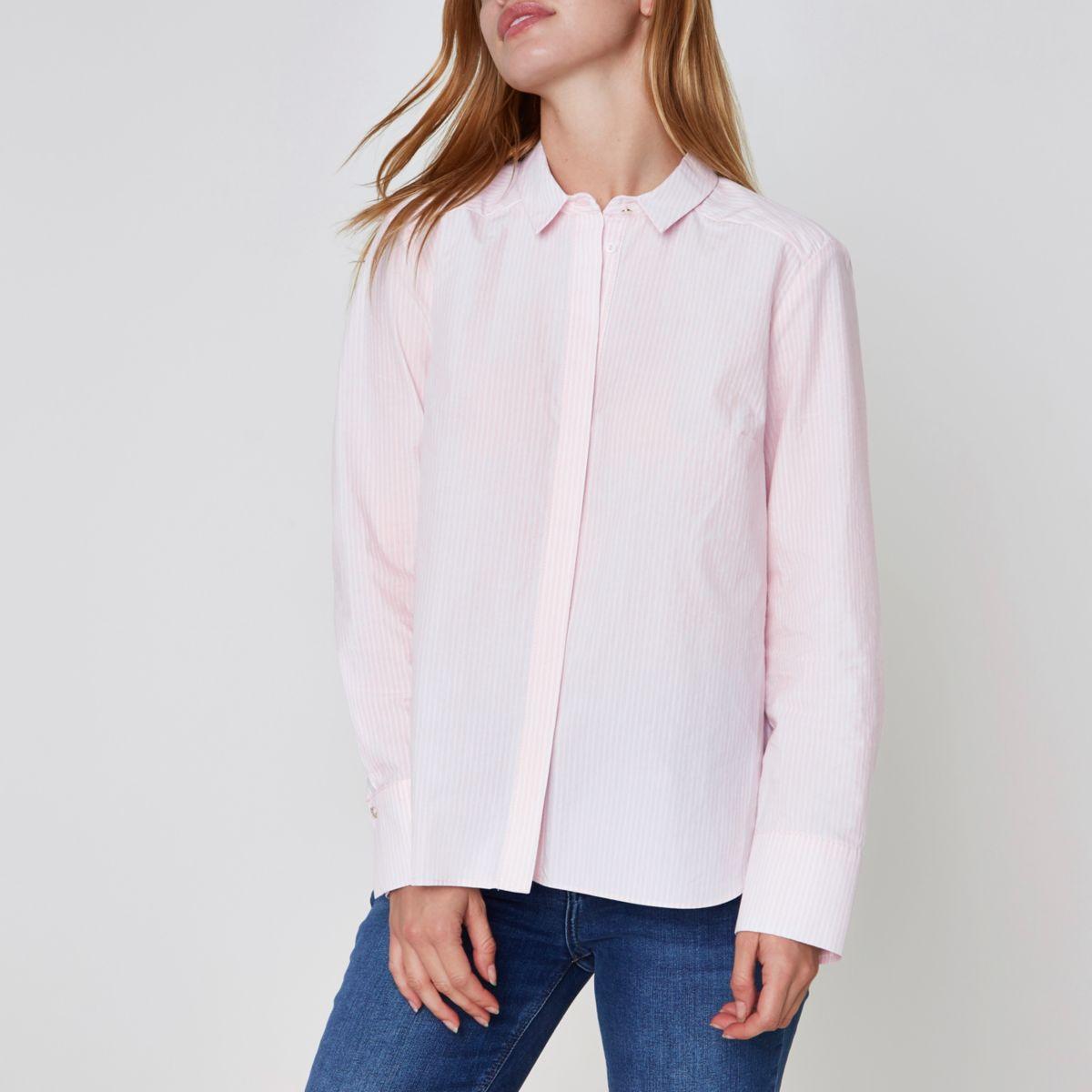 Petite pink pinstripe bow back shirt