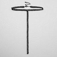 Zwarte chokerketting met vallende ketting en ingelegde steentjes
