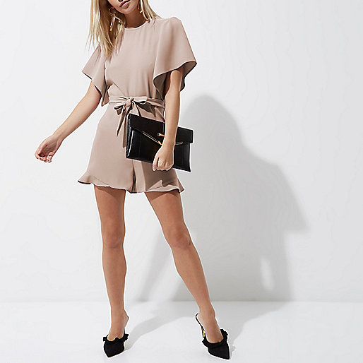 Petite light pink frill tie front playsuit
