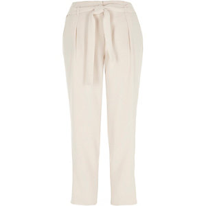Cream tie waist tapered pants