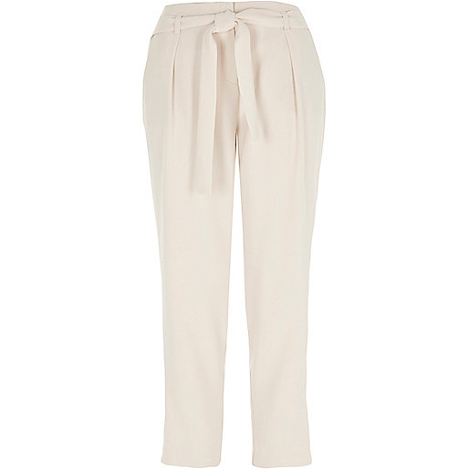 Cream tie waist tapered pants