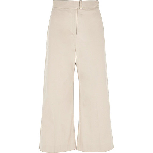 Beige buckle culottes