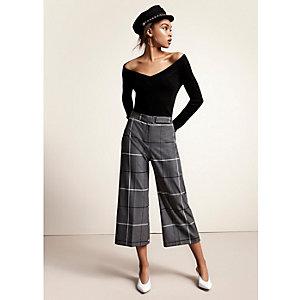 Jupe-culotte large à carreaux grise