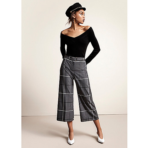 Grey wide check culottes