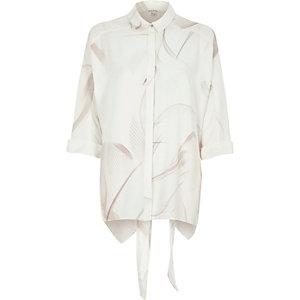 Grijs overhemd met bladerprint en strik op de rug