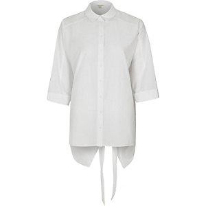 Nate – Chemise blanches à manches longues nouée dans le dos