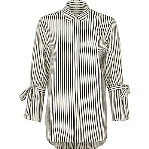 White mono stripe tie sleeve shirt