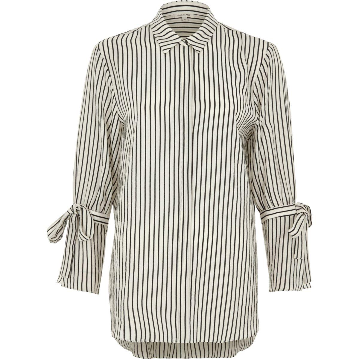 White mono stripe tie sleeve shirt