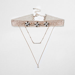 Rose gold tone drape chain choker