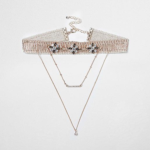 Rose gold tone drape chain choker