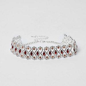Silver tone rhinestone red jewel choker