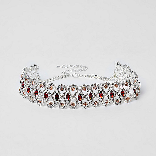 Silver tone diamante red jewel choker