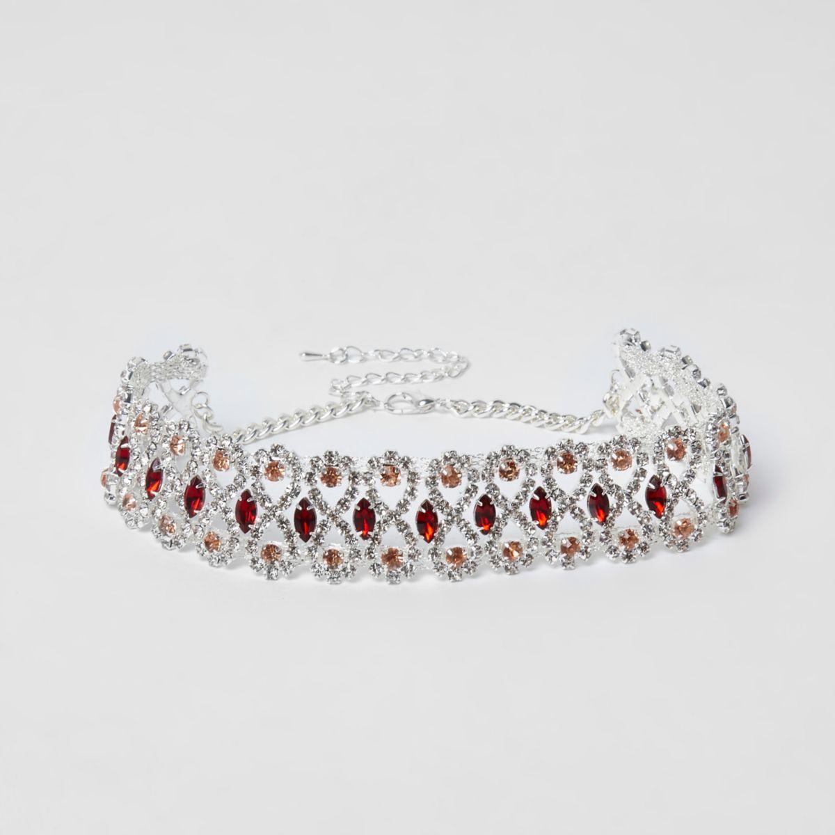 Silver tone diamante red jewel choker